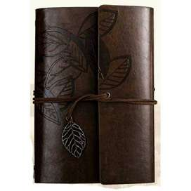 PHANTACI Buku Catatan Binder Kulit Retro Leaf Kertas A6 - BSD666
