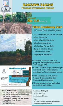 Tanah Sleman Murah 1 Menit dari jalan Jogja-Magelang
