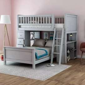 Wooden bunk beds with tabe drawers and stair