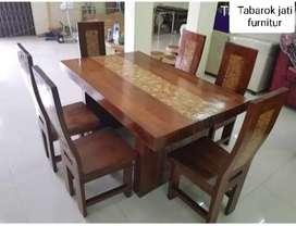Meja makan minimalis kombinasi koin; kayu jati tebal tua asli