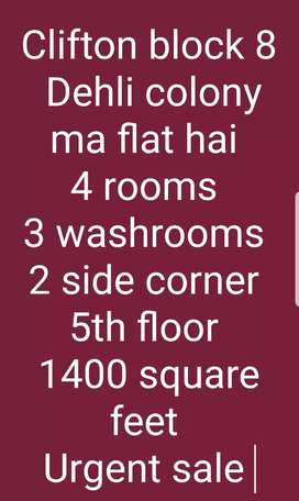 Dehli colony ma flat hai 2 side corner urgent sale