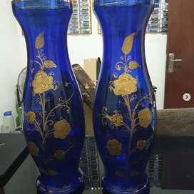 Vas bunga/Guci kristal biru besar (sepasang)