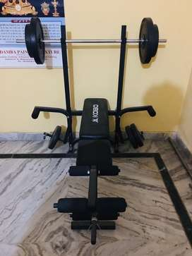 Gym bench and plates combo