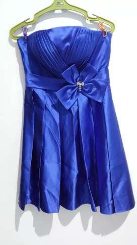 Mini Dress warna Biru