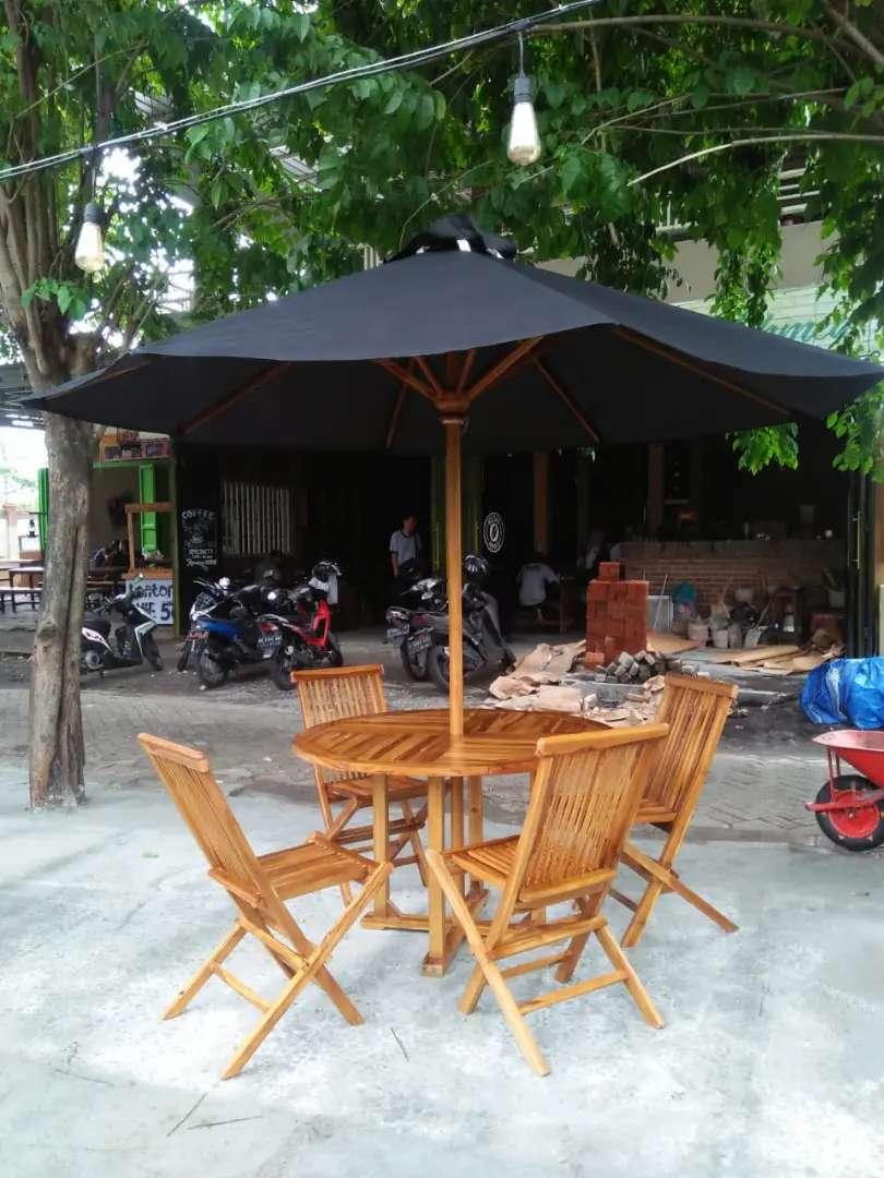 Meja taman,meja parasol,meja cafe,kursi lipat,kursi jati,meja payung