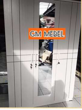 GM MEBEL Lemari Pakaian 3 Pintu All White