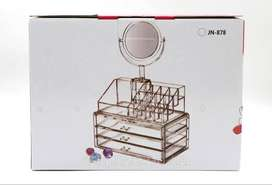 Makeup Organizer  Plastic Cosmetic Storage Box With Mirror