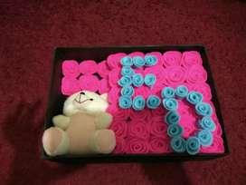Boneka satu plus bunga dan box