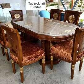 Meja makan salina gendong mewah kursi 6, bahan kayu jati asli 100%