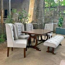 Meja makan jati kursi sofa