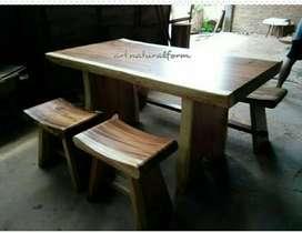 Meja kursi makan trembesi minimalis