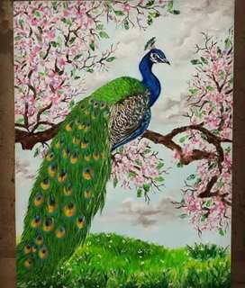 Oil painting on canvas peacock painting