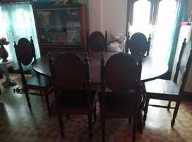 Wooden big dining table with 6 chairs