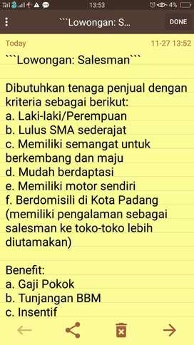 Open Recruitment - Salesman Kota Padang