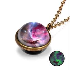 Universe Planet Nebula Double-Sided Glass Pendant Necklace for Girls