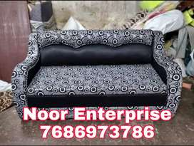 Black an grey colour floral fabric sofacumbed with warranty