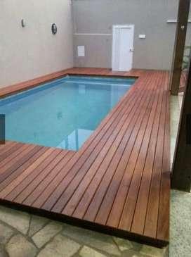 Decking kayu solid murah/pooldeck kayu/pagar kayu/tangga kayu/railling