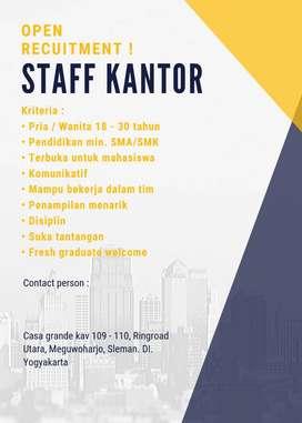 STAFF KANTOR,FULL TIME,PART TIME, YOGYAKARTA