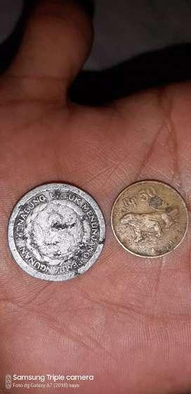 Uang logam jaman,10 rupiah,.sama uang 50 rupiah.