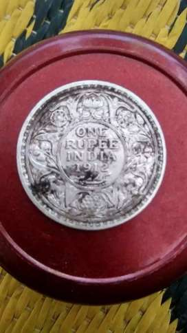 Silver 1 rupees old coin1912