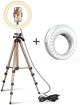 Ring Led Camera Light with Small Led Light,Tripod Stand & Flexible Pho