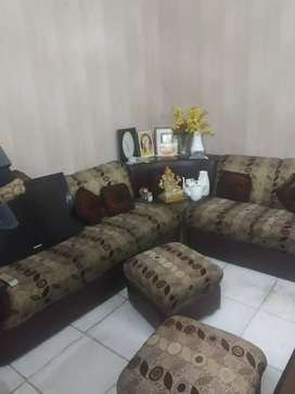 6 seater glass corner  home made sofa with glass table