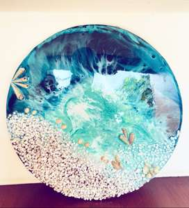 Resin Art with wooden circle