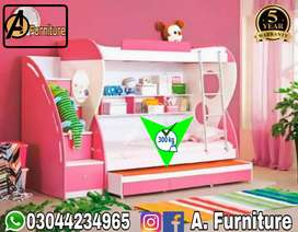 Baby Pink triple bunk bed
