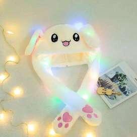 Topi kelinci Led gerak lucu - Kelinci Pink LED