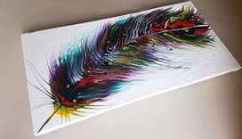 Multi Color Peacock Feather Painting