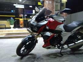 Mahindra mojo dual exhaust red and white