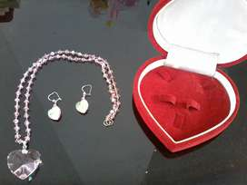 Kalung dan anting set swarovsky ori
