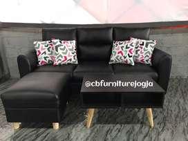 sofa set dengan puff dan meja model simple elegant harga promoo