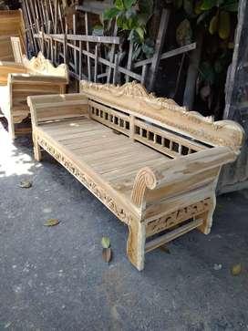 Sofa madura jari - jari ( full jati ) 200 x 60  ( stok ada )
