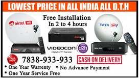 NEW Connection Dishtv Airtel tv Dish tv Tatasky Binge+ Tata sky D2H