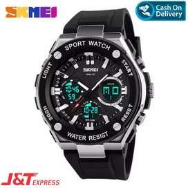 BAYAR DIRUMAH!!! SKMEI 1187 Original Water Resistant 50 M - Blackwhite