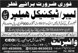 Labour Required for Electromechanical Company Qatar
