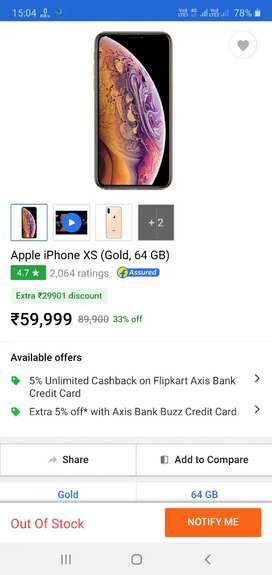 apple xs gold 64gb sealed pack