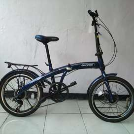 Sepeda Lipat Seli size 20 double cakram Evergreen bagus terawat