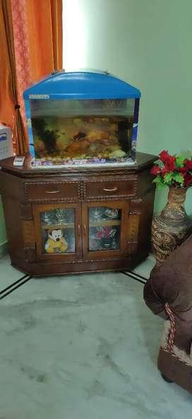 Corner table , with fish aquarium