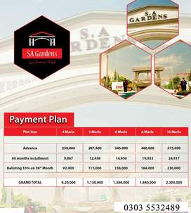 SA Gardens - Low Price Plots in Lahore on installments