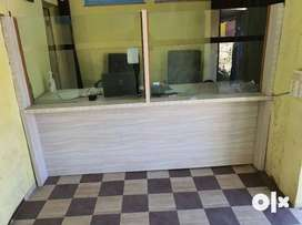 Wooden office counter.