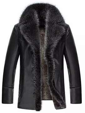 Genuine Leather with Collar Furr Long Coat for Women