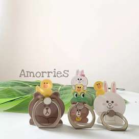 IRing Line Brown & Cony with friends Cincin Handphone / Holder Casing