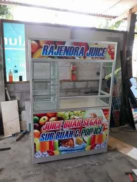 Etalase both gerobak aneka jus buah salad buah es campur sop buah