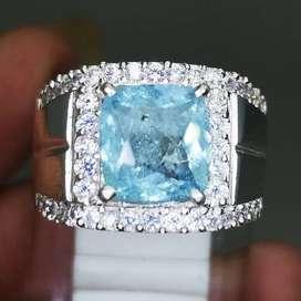 Batu Cincin Akuamarine Beryl Bagus Ring Perak