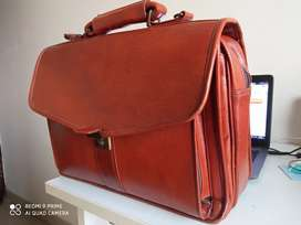 Leather accessories 18inch leather briefcase laptop office bag for men