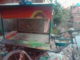 Engine fitted rickshaw for food cart and loading