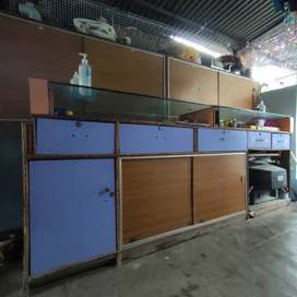 Shop counter, cabinets, cupboard