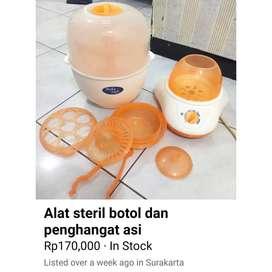 Alat steril botil,peralatan makan, pengahangat asi